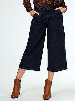 Jupe culotte en jean taille très haute
