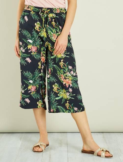 jupe culotte fluide fleurie femme rose kiabi 10 80. Black Bedroom Furniture Sets. Home Design Ideas