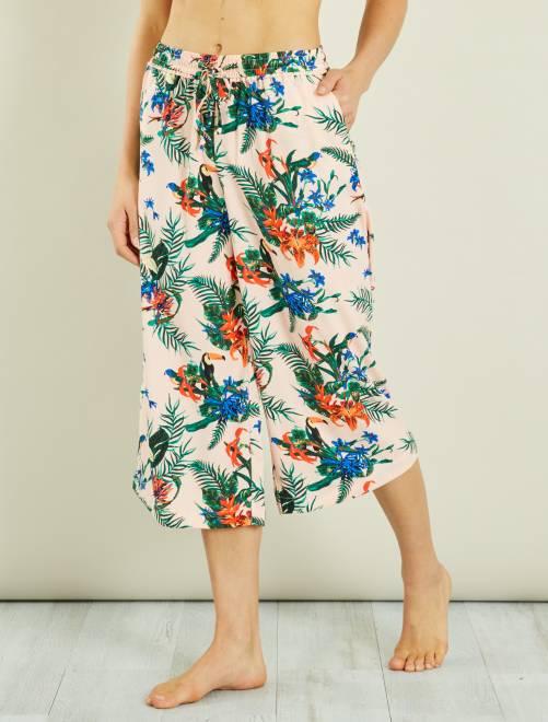 jupe culotte fluide fleurie femme bleu marine kiabi 12 60. Black Bedroom Furniture Sets. Home Design Ideas