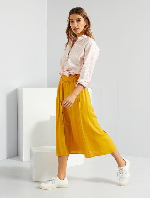 Jupe longue boutonnée                                                     jaune bronze