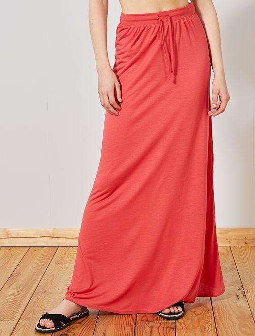 Jupe longue en maille stretch                                                                 rose Femme