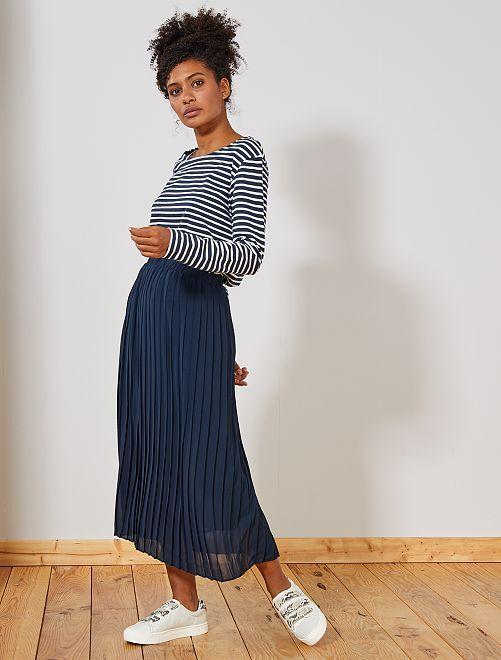 jupe longue pliss e femme bleu marine kiabi 18 00. Black Bedroom Furniture Sets. Home Design Ideas