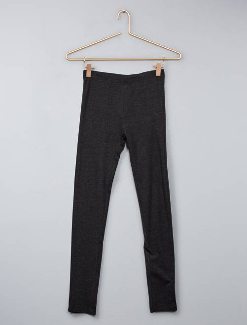 Legging stretch uni                                         gris chiné foncé