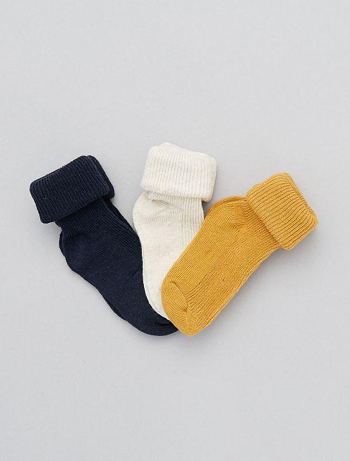 Lot 3 paires de chaussettes éco-conçues                                                                 jaune/blanc:bleu