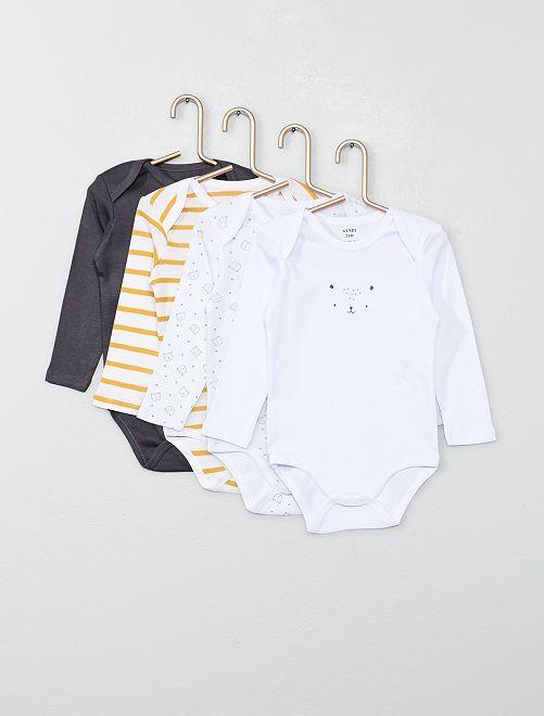 Lot 4 bodies en jersey                                                                 blanc/gris/jaune