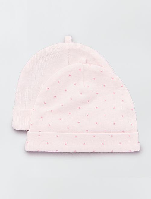 Lot de 2 bonnets coton bio 'éco-conception'                                                                 rose