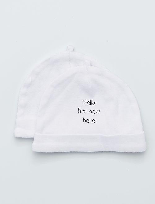Lot de 2 bonnets éco-conçus                                                                                                     blanc