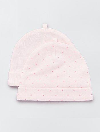 843ab8556efe Fille 0-36 mois - Lot de 2 bonnets en coton bio - Kiabi