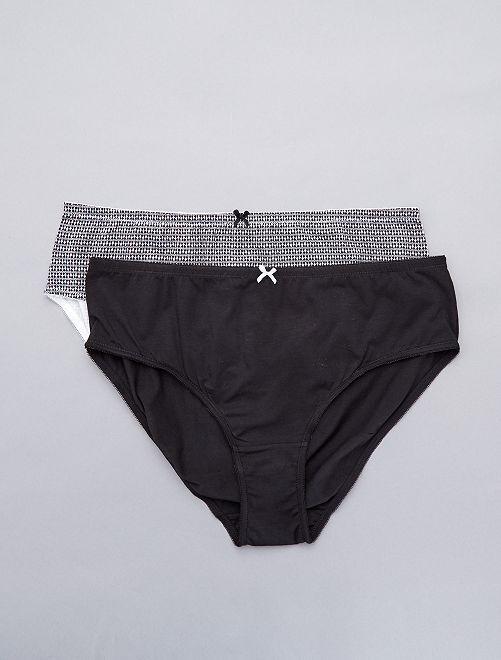 Lot de 2 culottes en coton                                             noir/noir imprimé blanc