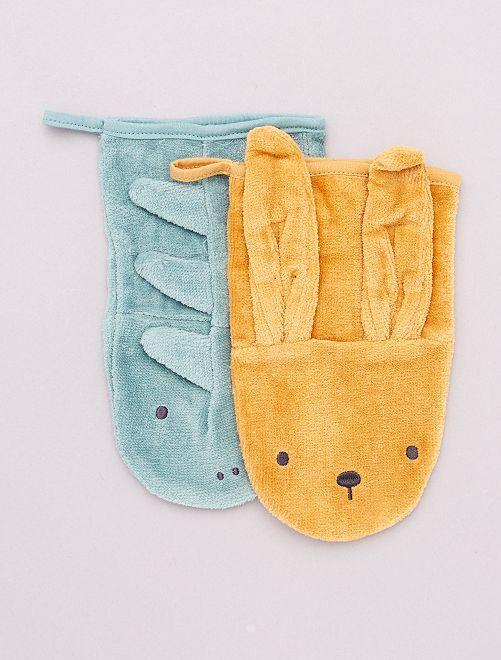 Lot de 2 gants de toilette 'animaux'  éco-conçu                                         moutarde/bleu