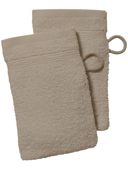 Lot de 2 gants de toilette                                                                                                                                         beige