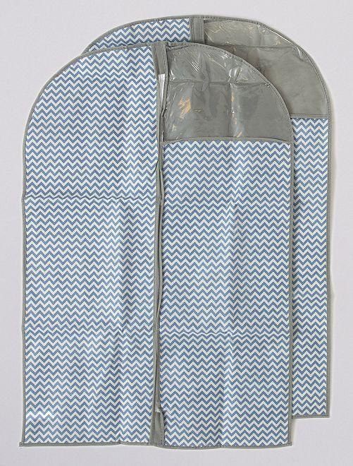Lot de 2 housses de vêtement hauteur 90 cm                             bleu