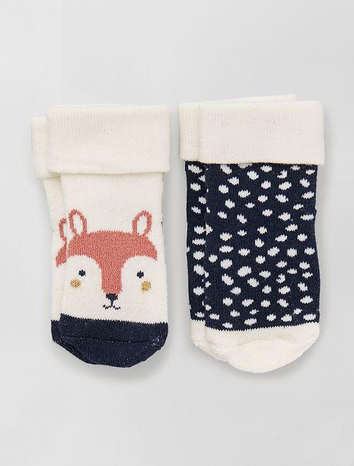 Lot de 2 paires de chaussettes antidérapantes                                                                 beige/marine