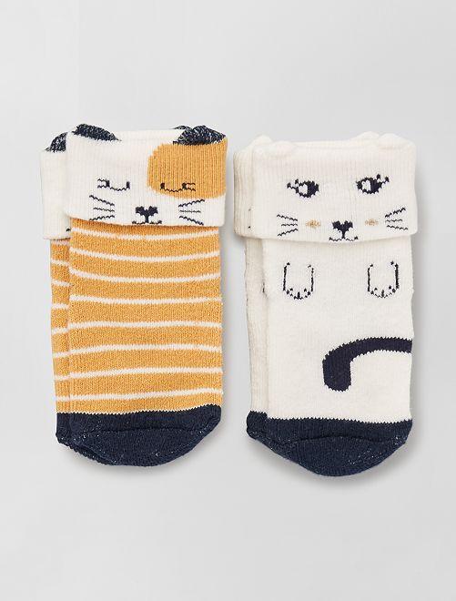 Lot de 2 paires de chaussettes antidérapantes                                                                 jaune/beige