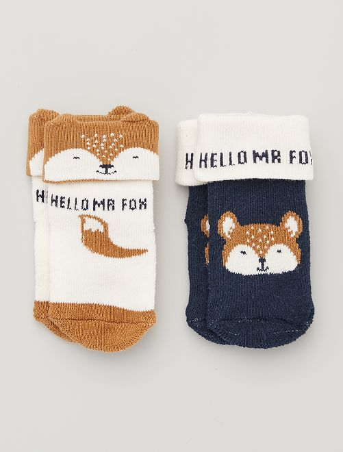 Lot de 2 paires de chaussettes antidérapantes                                                                 marine/camel