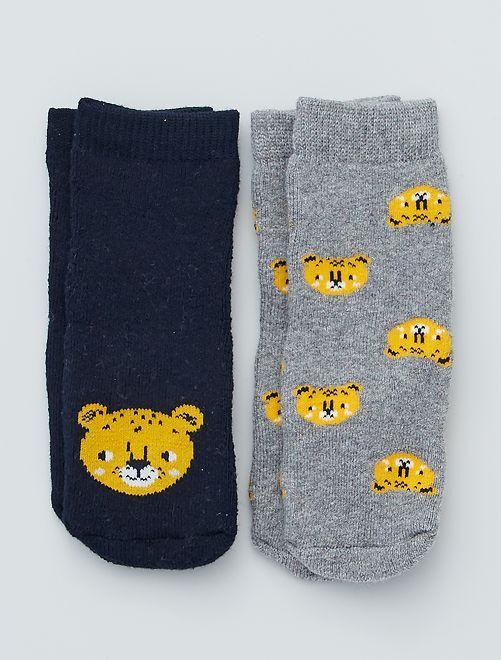 Lot de 2 paires de chaussettes antidérapantes                                                                                         noir/gris/tigre