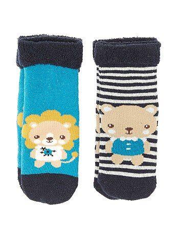 Lot de 2 paires de chaussettes bouclette 'animaux' - Kiabi