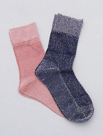Lot de 2 paires de chaussettes brillantes - Kiabi