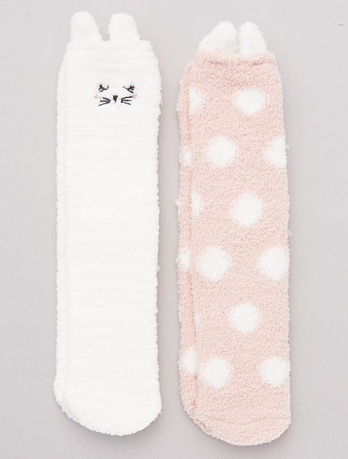 Lot de 2 paires de chaussettes chaudes                             rose/blanc