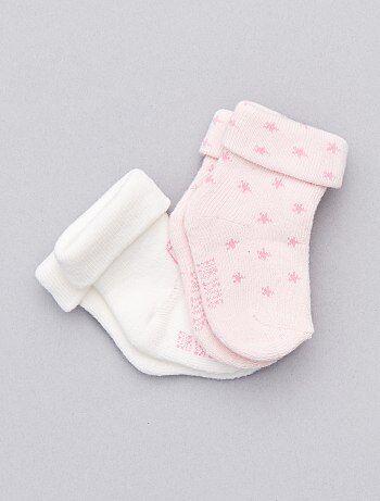 Fille 0-36 mois - Lot de 2 paires de chaussettes coton bio - Kiabi