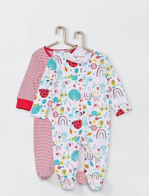 Lot de 2 pyjamas imprimés                             blanc/rose
