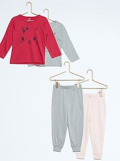 Lot de 2 pyjamas longs en jersey imprimés