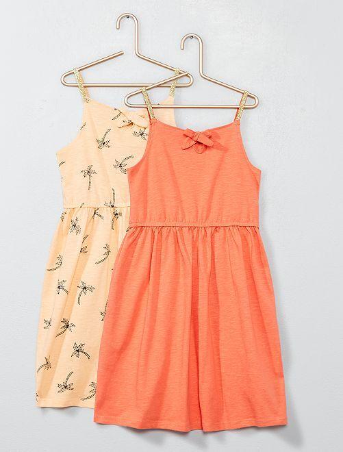Lot de 2 robes à bretelles en jersey                                 pêche/orange