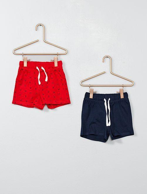 Lot de 2 shorts pur coton Bébé garçon - rouge/