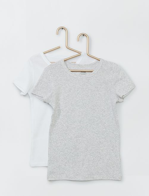 Lot de 2 T-shirts éco-conçus                                         blanc message/gris chiné
