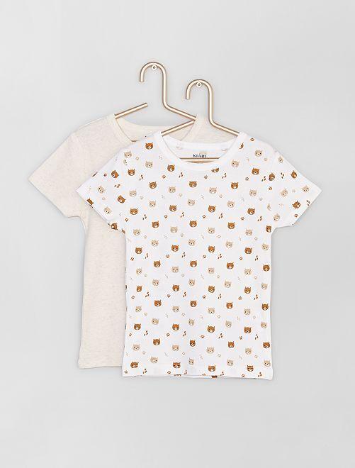 Lot de 2 t-shirts éco-conçus                                         écru