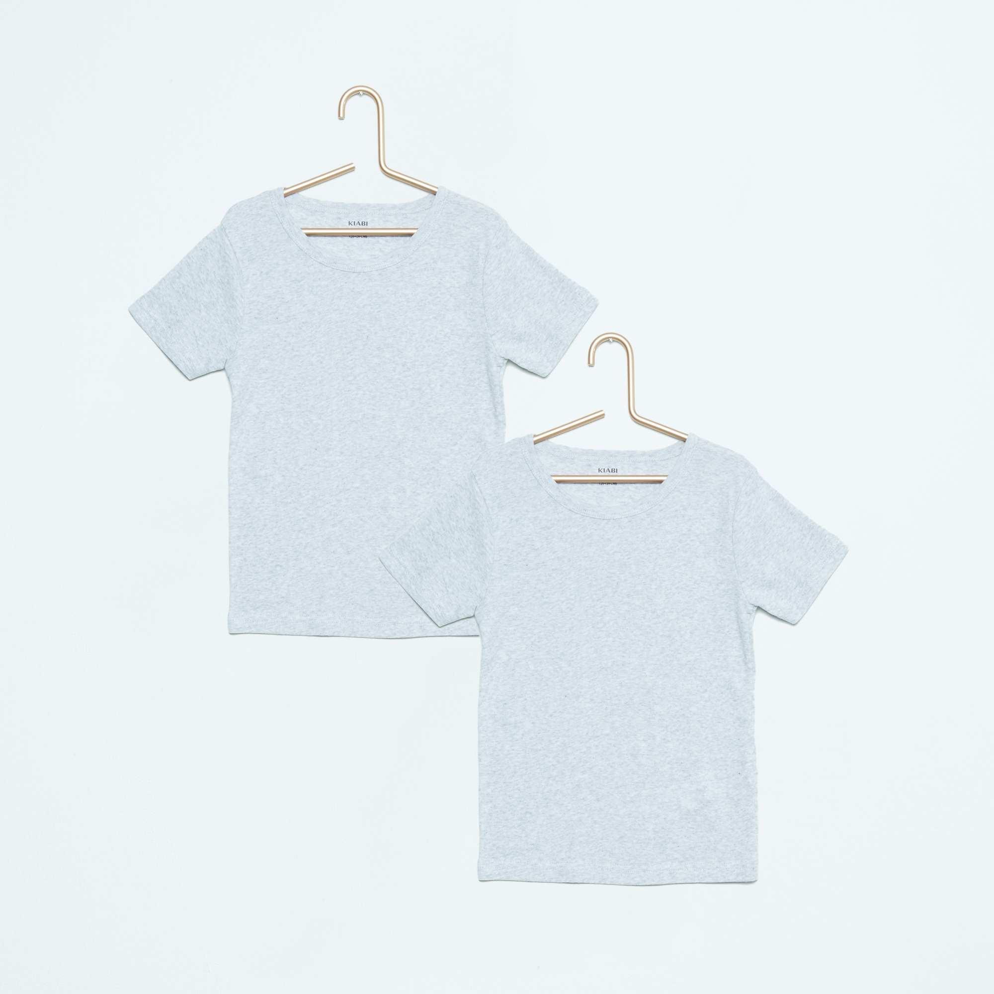 lot de 2 tee shirt coton fille gris kiabi 4 20. Black Bedroom Furniture Sets. Home Design Ideas