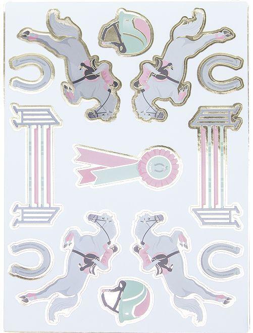 Lot de 25 stickers 'équitation'                             rose/blanc