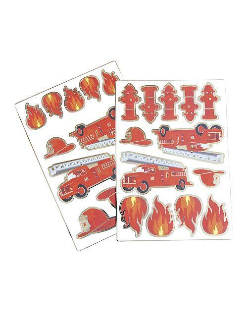 Lot de 25 stickers 'pompiers'                             rouge