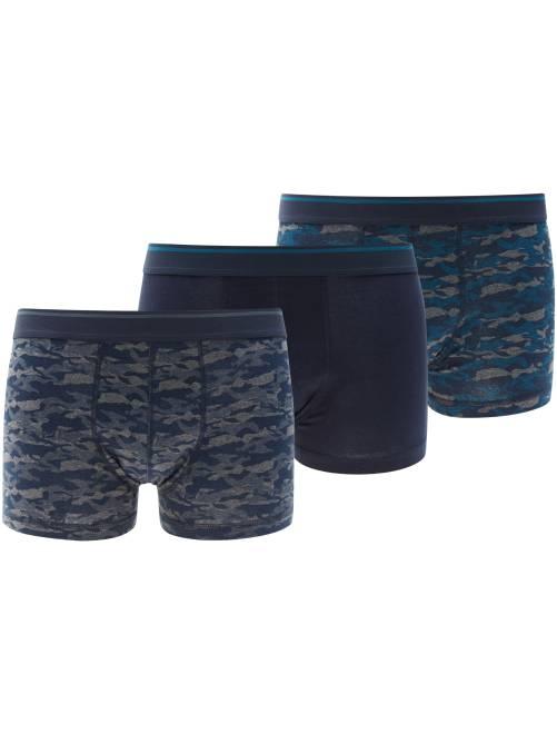 Lot de 3 boxers en coton stretch bleu camouflage Homme