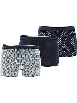 Sous-vêtements - Lot de 3 boxers en coton stretch - Kiabi