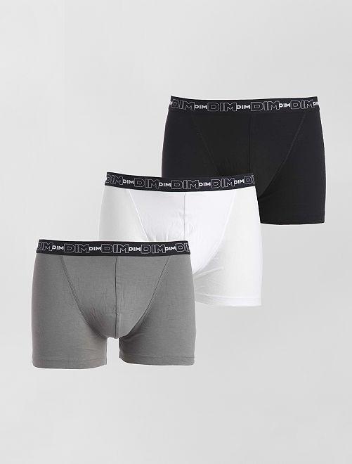 Lot de 3 boxers en coton stretch de 'DIM'                                                                                                     noir/gris/blanc Homme