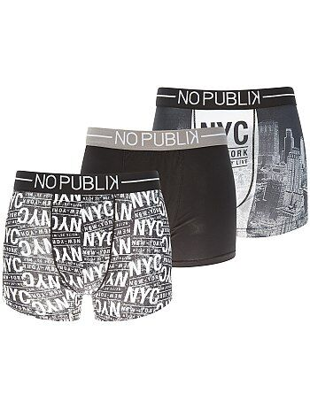 Lot de 3 boxers 'No Publik' - Kiabi