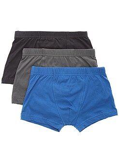 Sous-vêtement - Lot de 3 boxers unis - Kiabi