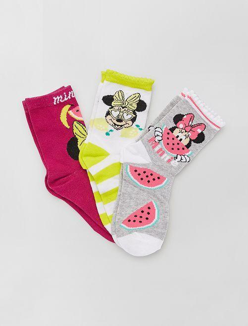 Lot de 3 chaussettes 'Minnie' de 'Disney'                                         jaune
