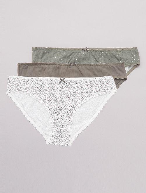 Lot de 3 culottes 'eco-conception'                                                                                                                 kaki/blanc