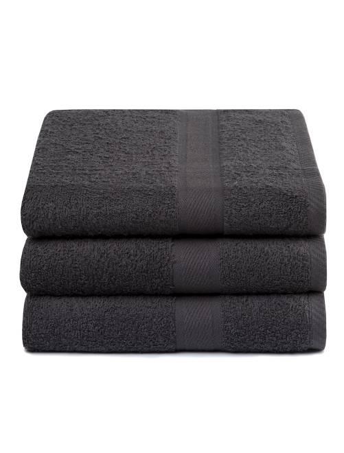 Lot de 3 draps de bain pur coton                                                     gris foncé Linge de lit