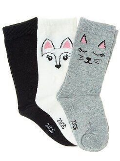 Collants, chaussettes - Lot de 3 paires de chaussettes coeur et étoile - Kiabi