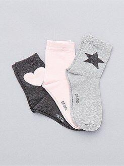 Collants, chaussettes - Lot de 3 paires de chaussettes coeur et étoile