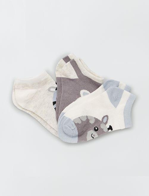Lot de 3 paires de chaussettes courtes                                         gris/bleu