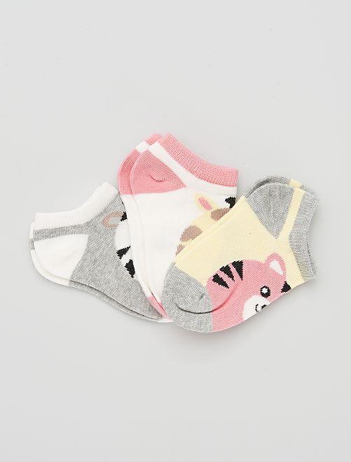 Lot de 3 paires de chaussettes courtes                                         gris/rose