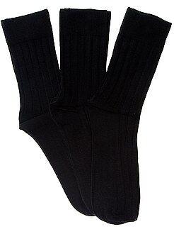 Chaussettes noir - Lot de 3 paires de chaussettes fines côtes