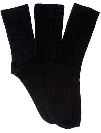 Lot de 3 paires de chaussettes fines côtes - Kiabi