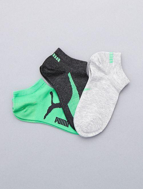 Lot de 3 paires de chaussettes 'Puma' tige courte                                                     vert/nr/gris Garcon adolescent