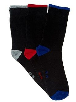 Chaussettes noir - Lot de 3 paires de chaussettes talons contrastés