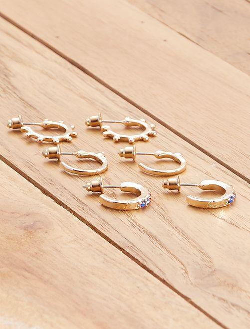 Lot de 3 paires de petites créoles                             doré